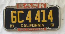 Bank Chevrolet Dealer License Plate Frame San Francisco, CA Restored 1940-1955