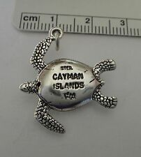 One Sterling Silver 26x23mm Solid 5 gram Sea Turtle says Cayman Islands Charm