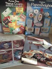 Cross Stitch 4 chart leaflets Pocket Stitches Tissue bread covers & paperweights