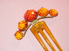 Antique Victorian Natural Amber Hinged Hair Comb ~ Polished Horn Tines
