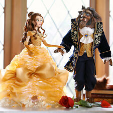 Disney Store Beauty Belle and the Beast Limited Edition Platinum Doll Set LE