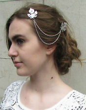 Silver Leaf Hair Chain Clips Vine Headpiece Bridal Vintage Grecian Headdress T64