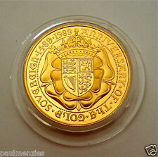 1989 ROYAL MINT TUDOR ROSE 500TH ANNIV SOLID 22K GOLD PROOF FULL SOVEREIGN COIN