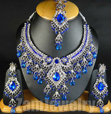 Wedding Jewelry Silver Tone Kundan Bollywood CZ Fashionable Necklace Set V#21