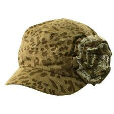 Ladies Summer Leopard Animal Print Lace Flower Cadet Castro GI Cap Hat Brown