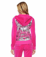 NWT Juicy Couture Logo Sequins Velour Original Jacket in Sweet Raspberry-Medium
