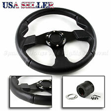 FIT 89-95 FORD MUSTANG NON-GT 320MM BLACK PVC LEATHER STEERING WHEEL + HUB BOSS