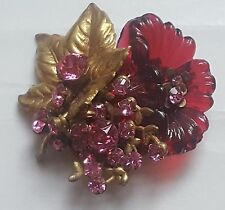 Vtg Signd MIRIAM HASKELL Molded Glass Flower and Brass Leaf w/ Rhinestone Brooch