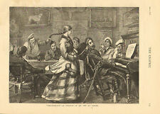 Soldiers, Bar Maid, Piano Music, Pub, Inn At Dover, Vintage, 1877 Antique Print,