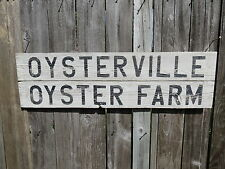 38 INCH WOOD OYSTERVILLE OYSTER FARM SIGN NAUTICAL SEAFOOD (#S447)
