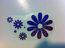 Flowers Flower Power Daisy Car Sticker Decal Vinyl Art PURPLE GLITTER 2001-2003