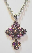 "Kirks Folly Cross Aurora Borealis Crystals w/Removable 20"" x 1/4"" Chain Necklace"