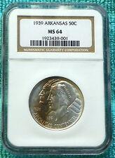 1939-P MS-64 Arkansas Centennial Commemorative Silver Half