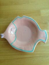 Cyclamen Pottery Julie Sanders FISH PLATE Dish Pink Green   EUC