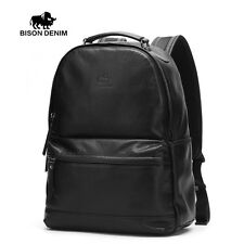 BISON DENIM Genuine Cowhide Leather Backpack Travel Casual Unisex School Bag