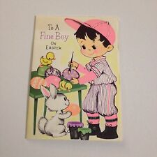 Vintage Greeting Card Easter Baseball Boy Neon Painting Eggs Bunny