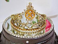 JEWELED VINTAGE RHINESTONE TIARA GOLD METAL CROWN SANTOS CAGE DOLL ANGEL CORONA