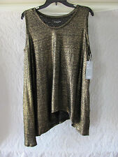Eileen Fisher Organic Linen Soft V-Neck Top Shark Bite Hem-Black Gold-Large-$158