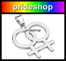 Female Stainless Steel Pendant With Ball Chain Necklace Lesbian Pride #380