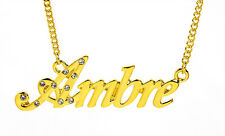 18K Gold Plated Necklace With Name AMBRE  - Family Designer Wedding Fashion Gift