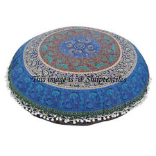 "32"" Round Meditation Cushion Cover Ottoman Pouf Indian Mandala Floor Pillows RT"