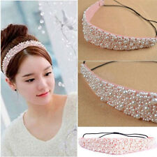 Fashion Style Lady Pearl Beads Crystal Headband Hairband Elastic Hair Head Band