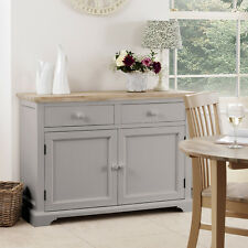 FLORENCE Dove Grey Sideboard, Large kitchen cupboard with acacia top, ASSEMBLED