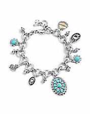 NWT Lucky Brand Silver Metal & Turquoise Multi Charm Bracelet