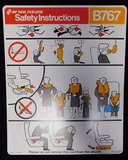 Air New Zealand Airlines Boeing 767 Rare Emergency Safety Card