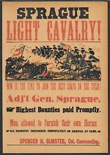Civil War Light Cavalry Recruitment Flyer Reprint On Original Period 1861 Paper