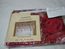 """Curtain of Character by United """"Charlotte"""" Triple Ascot Valance w/ Tassels Red"""