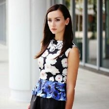 ZARA BLOGGERS FLORAL PRINT SUMMER TOP WITH A PEPLUM FRILL SIZE LARGE