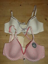 M&S Angel Set of 2 U/Wired Padded Cotton Blend Balcony Bras 28A Pink Mix BNWT