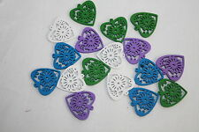 Filigree Cut Out Wooden Hearts Pack of 16 Decorative Craft Accessory