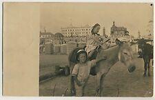 KINDER & ESEL Borkum Strand CHILDREN & DONKEY * Vintage 10s Photo PC / Foto-AK