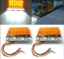 2X Amber 15LED Side Marker Light Clearance Lamps 12/24V Truck Trailer Roof Light