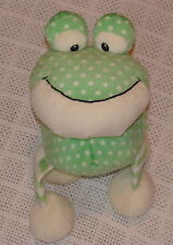 Breathe Easy Baby Plush Green Frog Polka Dots Stripe Soft Stuffed Animal Toy