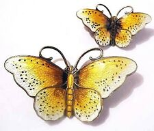 "PAIR 2 PRYDZ Norway Sterling Enamel BUTTERFLY Pins 2""~ EUC ~Vtg Hroar Brooch LOT"