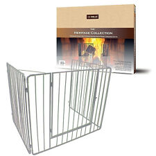 "X-LARGE CREAM 30"" x 38"" Heavy Nursery Child Fire Guard with Door Coal Log Stove"