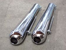 "1 3/4"" inlet smoothy mufflers exhaust tips Triumph Norton BSA Custom Motorcycle"