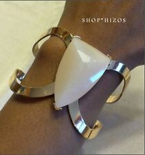 GOLD HOMAICA PEACH PRECIOUS STONE HINGED BANGLE BRACELET NEW