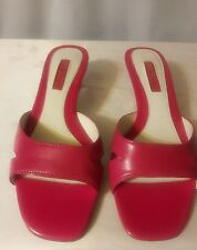 Ann Marino hot Pink genuine leather  low Heel Slides Mules 6.5 m