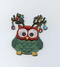 Iron On Patch Embroidered Applique Owl with Christmas Lights in Antlers