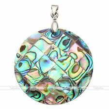 Round Mother Of Pearl Mop Natural Abalone Shell Bead Pendant Necklace Jewelry
