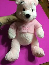 10in Spring Pastel Pink Winnie the Pooh Stuffed Plush Gingham Feet Disney Store