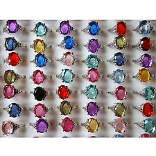 CHIC Wholesale jewelry mixed lots 10pcs crystal zircon silver plated rings