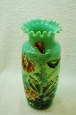 GREAT VICTORIAN DECORATED GREEN TRANSPARENT OPAQUE VASE 1880S - 1890S