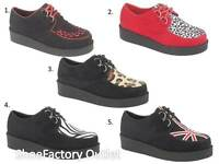 WOMENS LADIES FLAT PLATFORM WEDGE LACE UP GOTHIC PUNK CREEPERS SHOES BOOTS SIZE