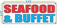 Red White & Blue SEAFOOD & BUFFET Banner Sign NEW LARGER Size for Restaurant
