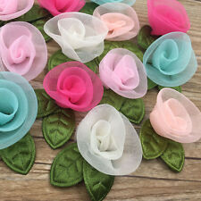 20PC Organza Ribbon Flowers Bows Rose W/ Green Leaf Appliques Craft Mix